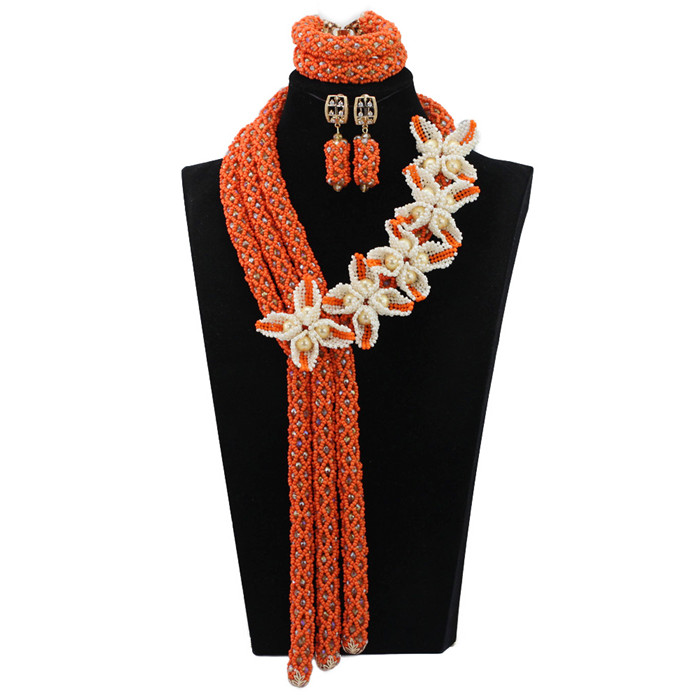 Gorgous Coral African Beads Jewelry Set Mix White&Coral Wedding Nigerian Statement Jewelry Sets 18K Duba Gold Plated WD374(China (Mainland))