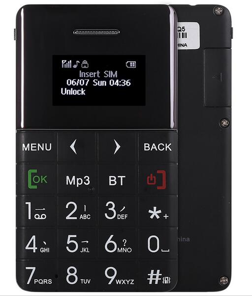 AIEK Qmart Q5 2G GSM Card Mobile Phone 5.5mm Ultra Thin Pocket Mini Slim Card Phone 0.96 inch QWERTY Keyboard Card Cell phone(China (Mainland))