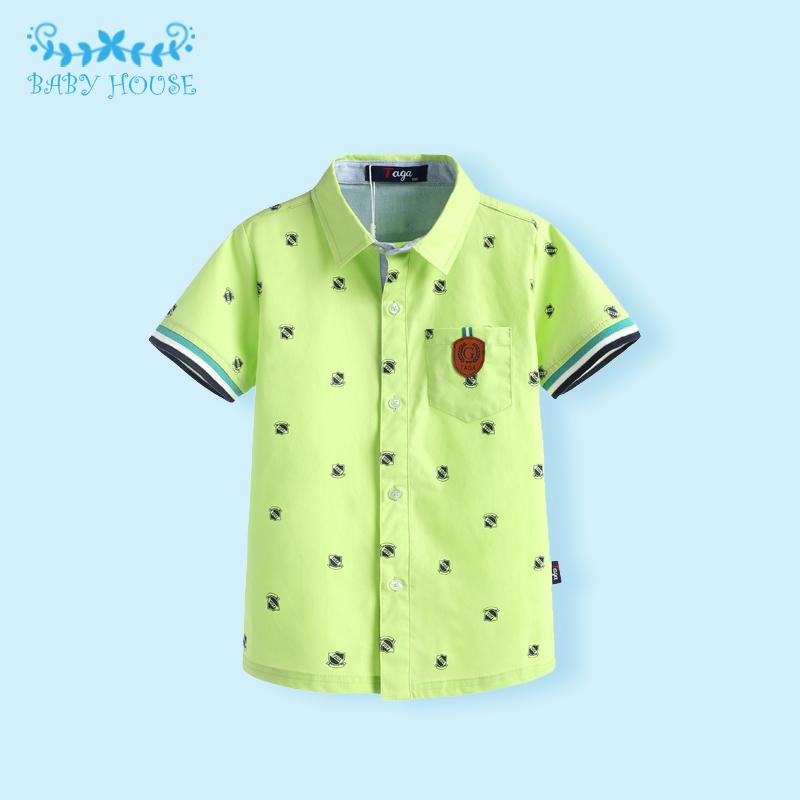 Фотография Hot Sale New 2016 Autumn Children Clothing Brand Fashion Full Printed Tie Kids Clothes Gentleman Boys Shirts for 2-10 Years