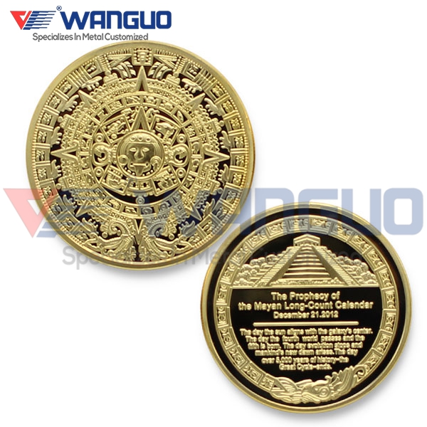 Diameter 40mm 2012 Mayan Prophecy Coin With Reverse of Sunshine Pyramid Aztec Maya Calendar 1 Oz. 24K Gold Plated Coin(China (Mainland))