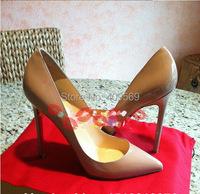 Классическая марка указал мыс Красный подошве обувь моды обнаженные розовые насосы пятки лакированные высокие каблуки партии обувь размер 34-45 евро