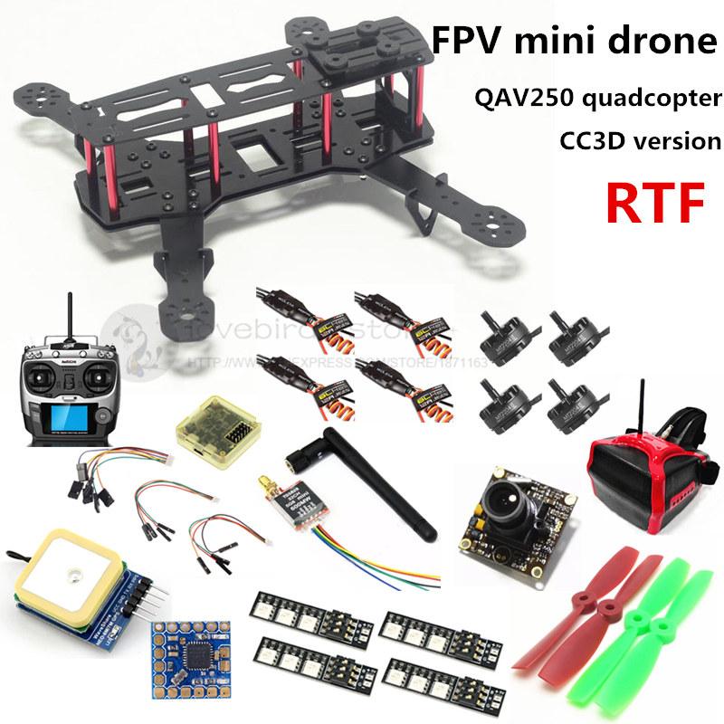 DIY mini drone FPV QAV250 cross racing quadcopter RTF CC3D + 2204II 2300KV motor + AT9 remote control + 700TVL camera + 6m GPS<br><br>Aliexpress