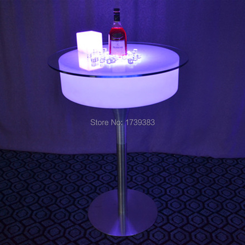 Modern Plastic bar pub illuminated led cocktail coffee bar table rechargeable remote control Table basse lumineuse(China (Mainland))