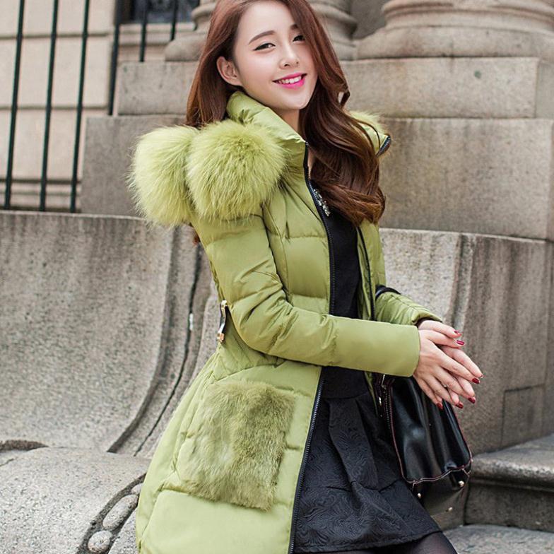 Para baixo casaco longo, quente fino grosso mulheres jaqueta de inverno houndstooth patchwork luxo capuz de pele de guaxinim(China (Mainland))