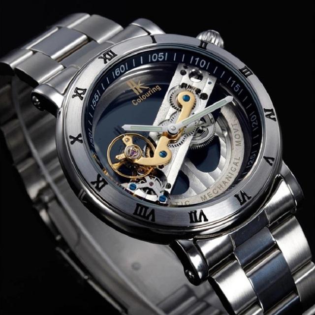 HOT!brand original IK colouring hollow 50M Waterproof business watch Transparent Luxury Casual men full steel Mechanical Watches
