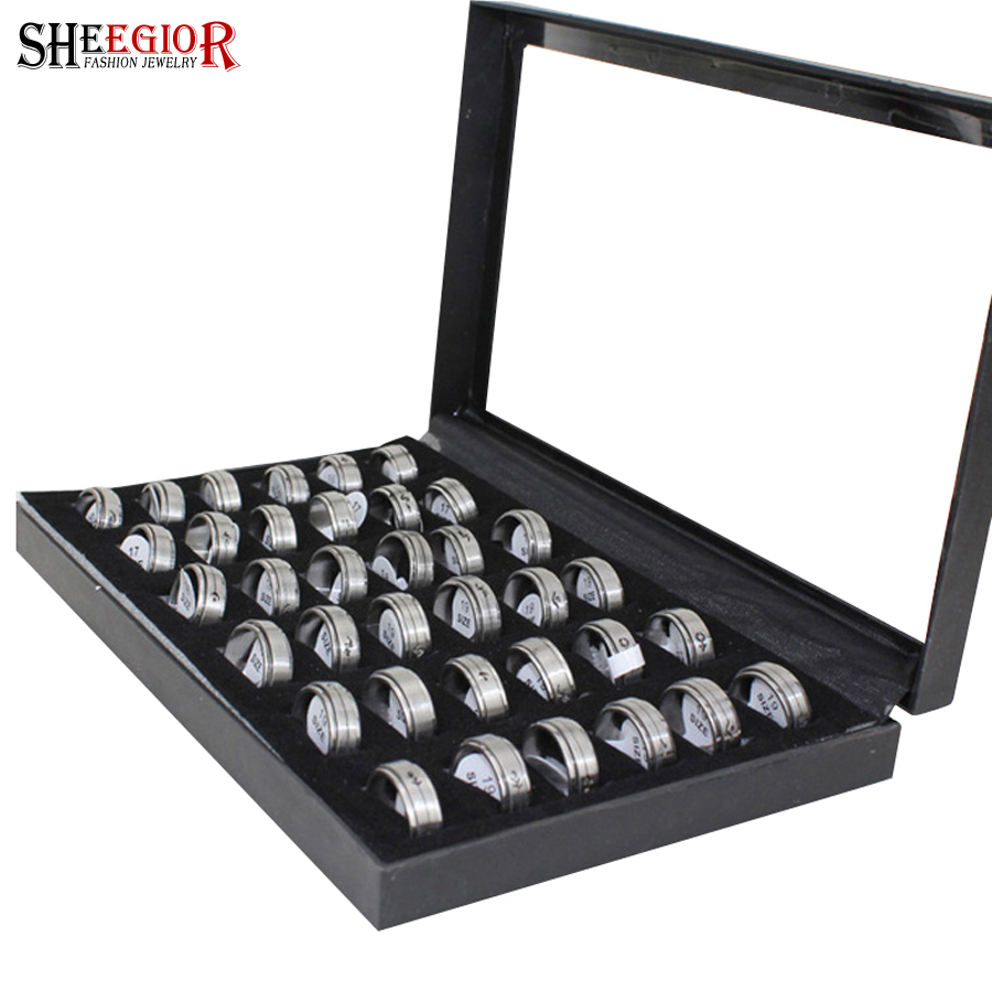Mens jewelry  Titanium stainless steel mens rings Multi Styles Mix Szies 36pcs with box  Promotion price! Free shipping<br><br>Aliexpress