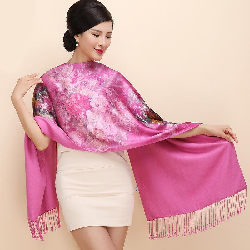 2016 Rushed Hijab Bandana Large Size Winter Thickness Silk Scarves Double Layer Printing Long Womens Fashion Warm Shawls Sh038(China (Mainland))