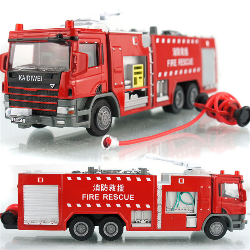 Scale Alloy Car Toy 1:50 Die Cast Metal + ABS Fire Truck Model, Classic Delicate Water Pot Fire Rescue Truck Kids Brinquedos(China (Mainland))
