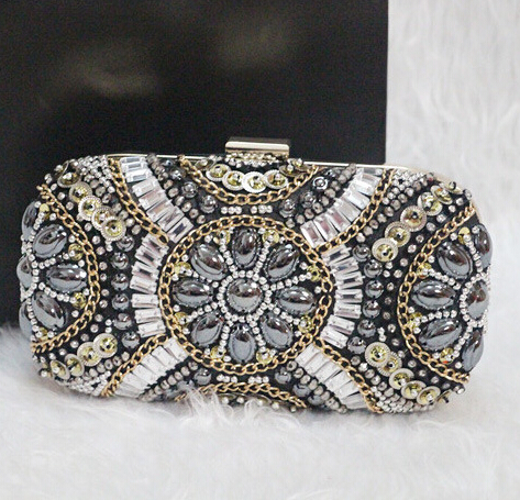 Free Shipping Women's Crystal Evening bag Retro Beaded Clutch Bags Wedding Diamond Beaded Bag Rhinestone Small Shoulder Bags(China (Mainland))