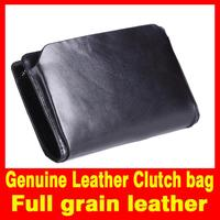 2015 New Men bag Clutch bag 100% Genuine Leather Fashion Classic Black  High capacity day clutches for men's phone cases