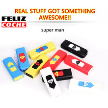 4Pcs/Lot Random Color USB Lighter Windproof Superman Cigarette Lighter Awesome Never Discount Rechargeable Flameless Lighter(China (Mainland))