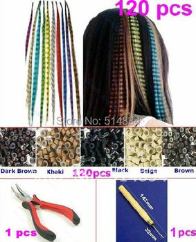 Free Shipping  2015 Fashion fake Grizzly Feather Hair Extensions with Hairs Ring Pliers hook  Kit,pop hair strands