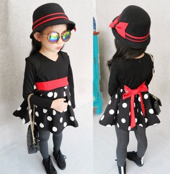 wholesale (5pcs/lot)-2015 autumn DOT Elastic  waist long sleeved Princess  dress  for child girl<br><br>Aliexpress