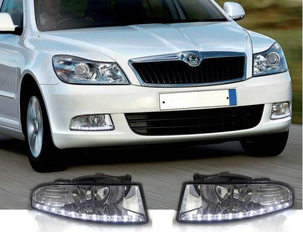 luckeay drl for skoda Superb 2 2008-2013 daytime running light car led lamp(China (Mainland))