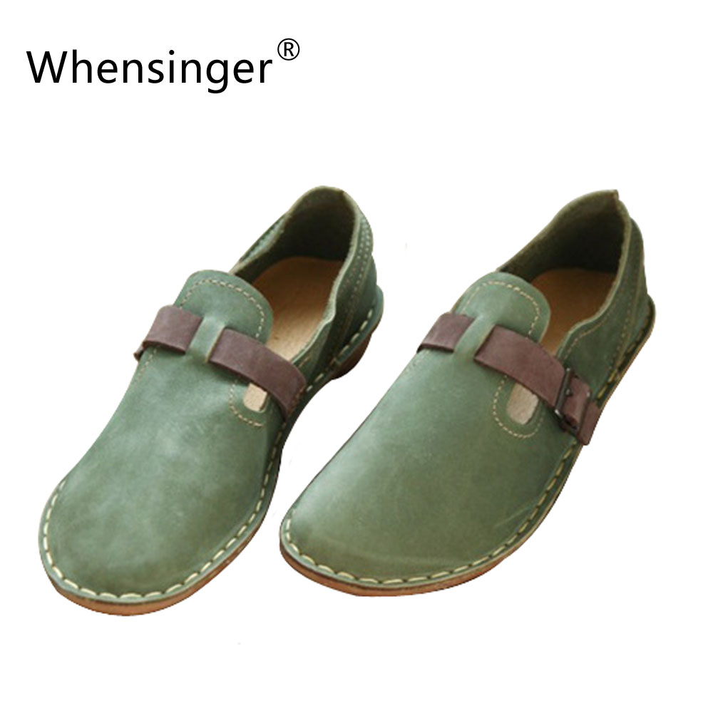New Style Original Hand Stitched Leather Shoes Inside Outside All Leather Retro Literary Comfortable Breathable Single Shoes 989