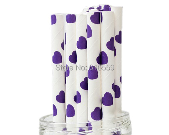 Free Shipping 100pcs Heart Paper Straws Purple,Paper Drinking Straws For Wedding Party Birthday Decoration(China (Mainland))