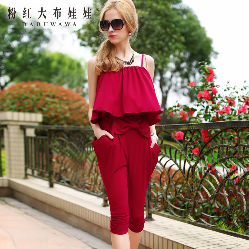 Siamese trousers summer pink doll new female red cloak straps bow slim seven pants