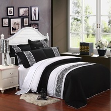 Luxury black and white bedding sets 4pcs 100% cotton duvet bed quilt covers comforters bedclothes for king queen size sheet(China (Mainland))