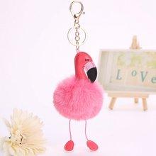 SUTEYI Nova Flamingo Fofo Bola De Pêlo Chaveiro Para As Mulheres Menina Dos Desenhos Animados Chaveiro Carro Saco de Jóias Acessórios Titular Da Corrente Chave(China)