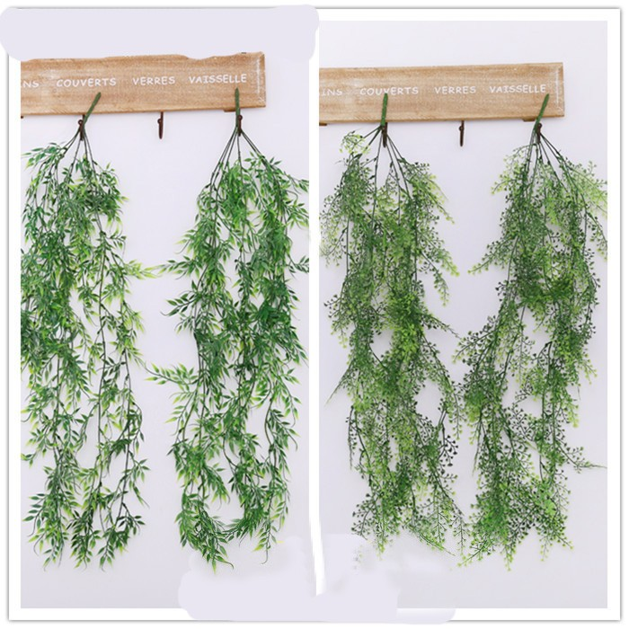 Wedding arch backdrop Green Artificial Fake plastic hanging vines Plant Leaves Garland Home Garden Wall Decoration Supplies
