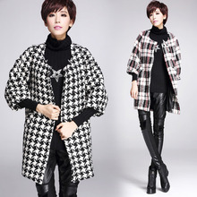 2015 winter new retro Vintage Tartan Pattern Contrast Color Modern Houndstooth Pattern 3/4 Sleeve loose long woolen coat jacket