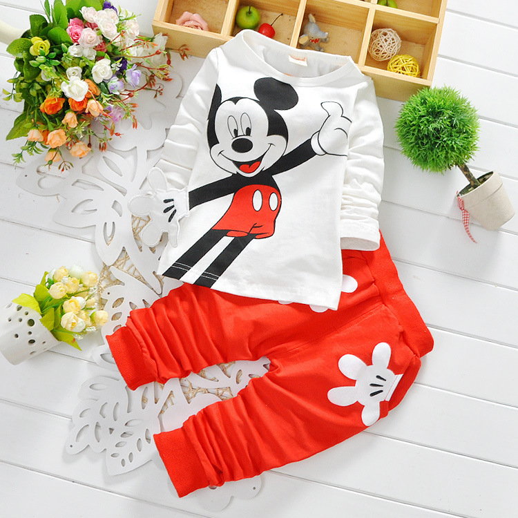Spring Autumn fashion boys cartoon suits 100%cotton mouse long-sleeved shirt +trousers kids casual set children clothing sets(China (Mainland))