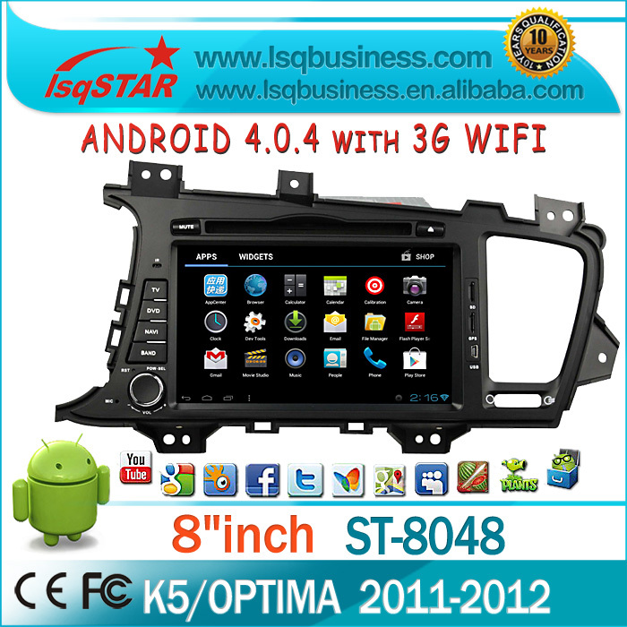 LSQ Star Manufacture Andriod For Kia K5/optima 2011-2012 With Gps/bt/dvd/atv/fm/am/rds/3g/wifi/usb/sd/3d Rotating Ui /pip/ipod(China (Mainland))