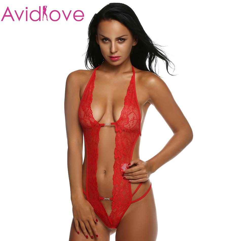 Avidlove Women Sexy Halter Lace Lingerie font b Babydoll b font Sleepwear Mini Night One Piece