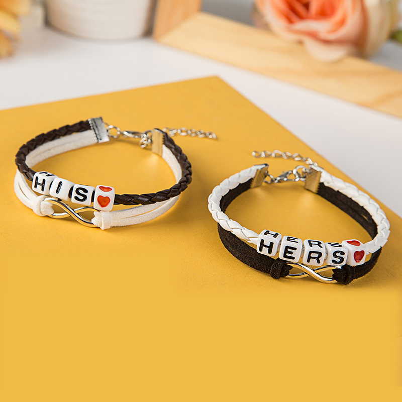 Handmade Couple Bracelet Lover Hers And His Charm Braided Leather Lovers' Bracelet Pulseras Mujer Bracciali Valentine's Day Gift(China (Mainland))