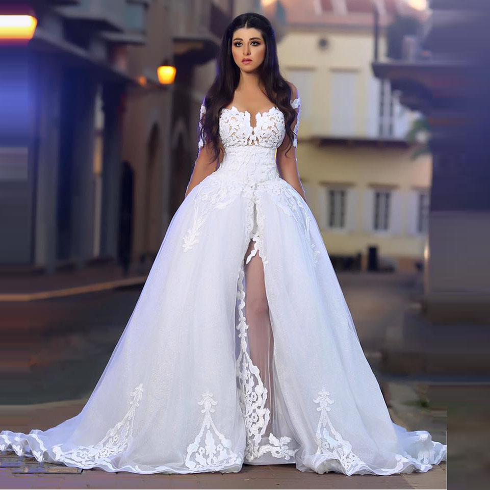 Romantic ball gown unique wedding dresses sheer long for A big wedding dress
