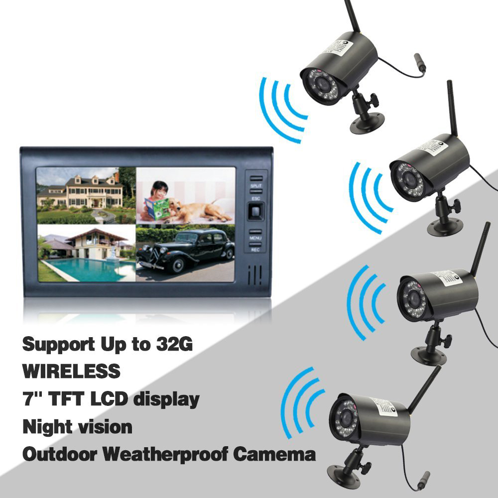 Digital wireless 7 lcd monitor sd card recording and 4 - Camera de surveillance interieur sans fil ...