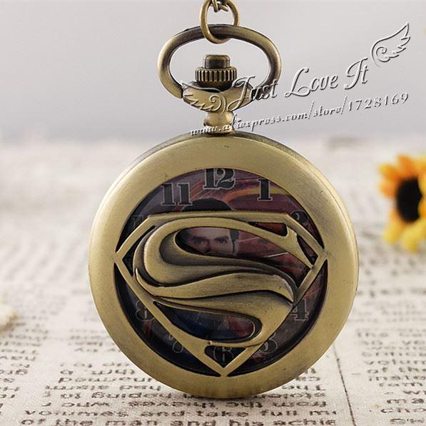Vintage Large super man pocket watch necklace pocket watch for men women kids 5pce/lot<br><br>Aliexpress