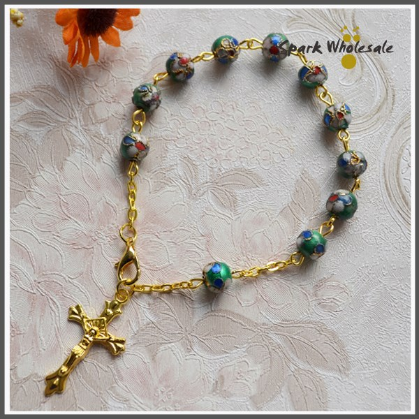25pcs/lot Christmas Gifts Wholesale Catholic 8mm Green Cloisonne Bead Bracelet Religious Rosary Bracelet Holy Gold Chain Jewelry<br><br>Aliexpress