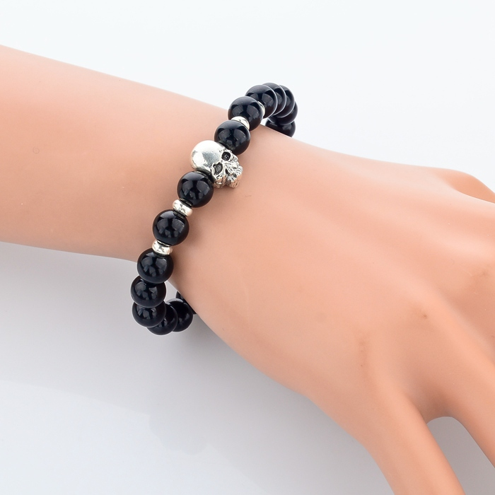 2015 New Fashion 8MM Beaded Black Natural Stone beads Skull Elastic Bracelets for Men and Women