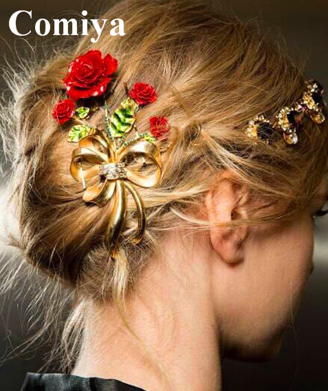 Good European and American style Baroque hair accessories luxury simulated diamond bridal hairpin red flowers wedding hair pins(China (Mainland))