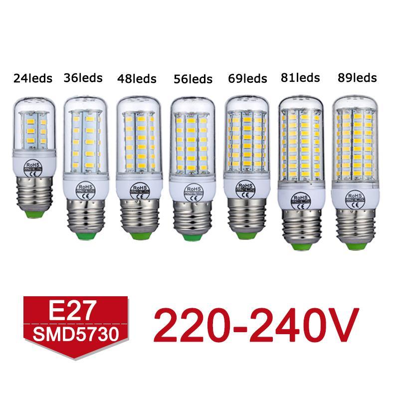 New Arrival E27 LED Lamp 220V 240V No Flickering SMD5730 LED Bulb 24 36 48 56 69 81 89LEDs 360 Degree Lampada LED Corn Light <br><br>Aliexpress