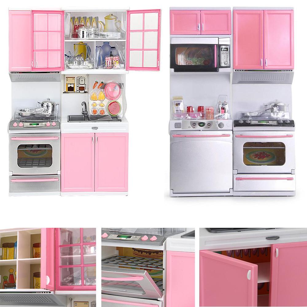 18 1 mini plastic kids kitchen pretend play stove toy pink for Plastic kitchen set
