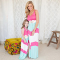 girls dresses summer 2016 family look striped maxi girl dress mother daughter dresses beach mother daughter