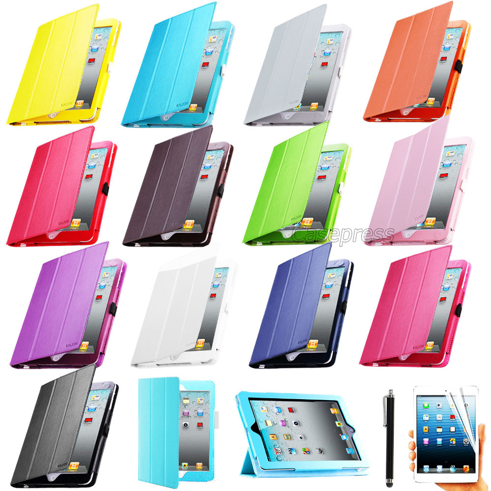 For iPad 4 for iPad 3 for iPad 2 Smart Cover Magnet PU Leather Stand Tablet Case Sleep/Wake Screen Protector Film Stylus Pen(China (Mainland))