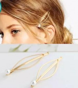 Simple atmospheric European and American wind Hairpin imitation pearl gold hairpin side clip hairpin headdress hair accessories(China (Mainland))