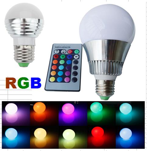 3W/5W/10W E27 RGB LED Lights Lamp Bulb Spotlight Colorful lights 16 Colors Changing + 24key IR Remote Controller Magic Lighting(China (Mainland))