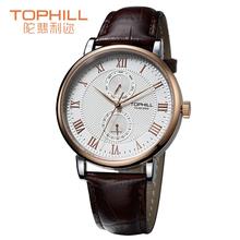 Tophill Summer Style hombres Classic reloj del cuarzo de la venda del cuero genuino hebilla de acero inoxidable de múltiples funciones cronógrafo