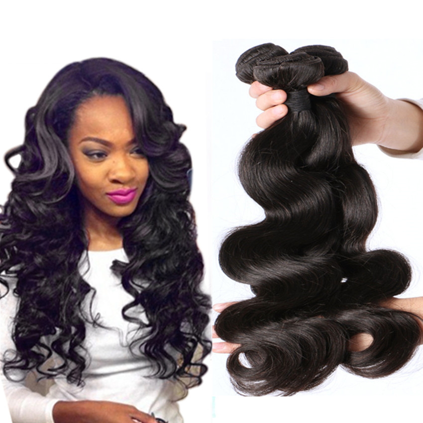 Chinese Virgin Human Hair Natural Color Body Wave Full 7a