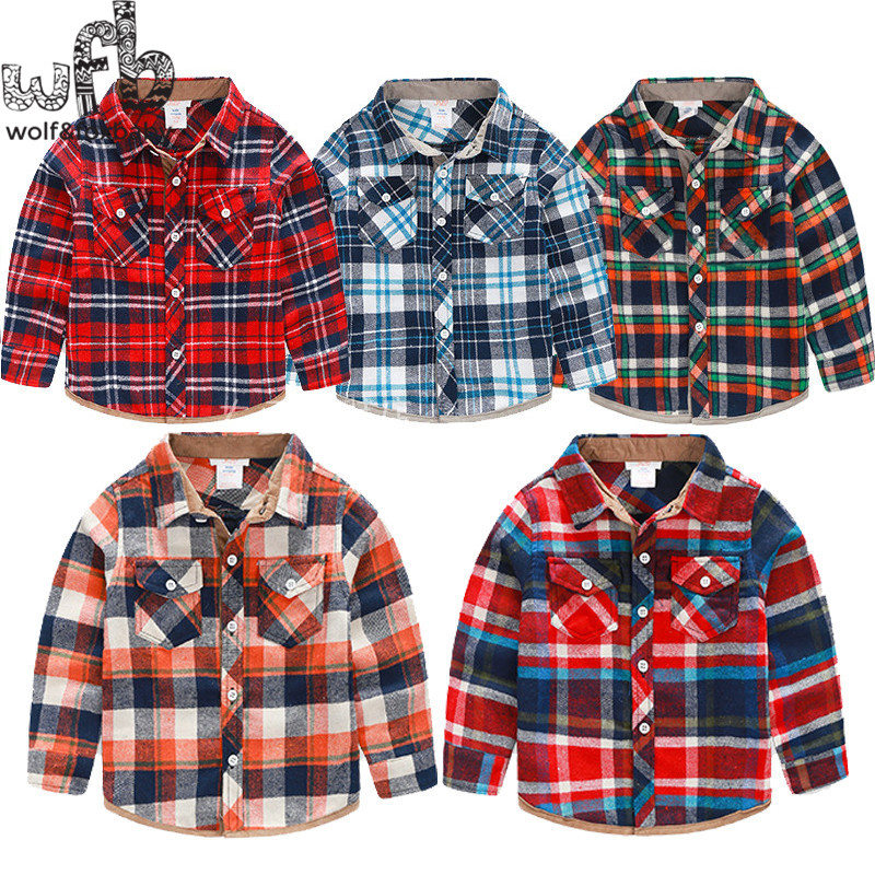 Retail 2-10years Classic grid baby children Clothing boys Clothes long-sleeve red shirt Infant Garment(China (Mainland))