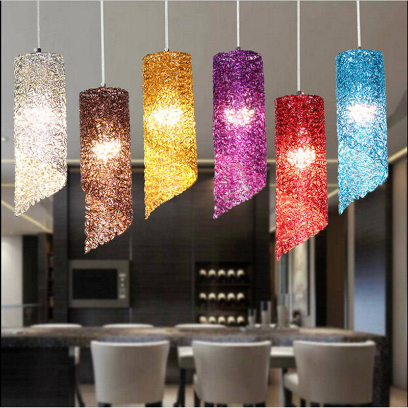Modern lamps pendant lights aluminum lamp colorful chandeliers restaurant bar coffee dining room LED hanging light fixture<br><br>Aliexpress