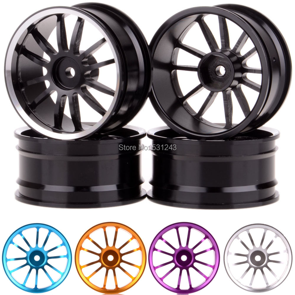 "4pcs 1/10 model car Aluminum Wheel Rims Black 12 spokes Offset 3mm Alloy Rims for HPI REDCAT HSP Racing Drift 1.9"" Tyre 108A(China (Mainland))"