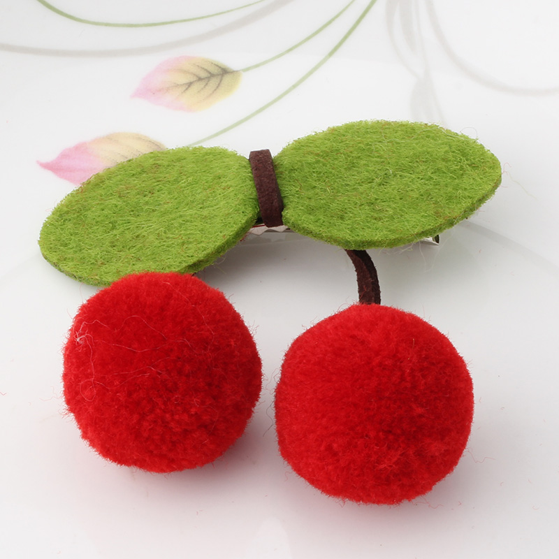 M MISM Sweet Cute Girls Cherry Bow Hairpins Ornaments Headdress Tiara Hair Clip New Charm Kids Ball Leaves Barrette Accessory(China (Mainland))