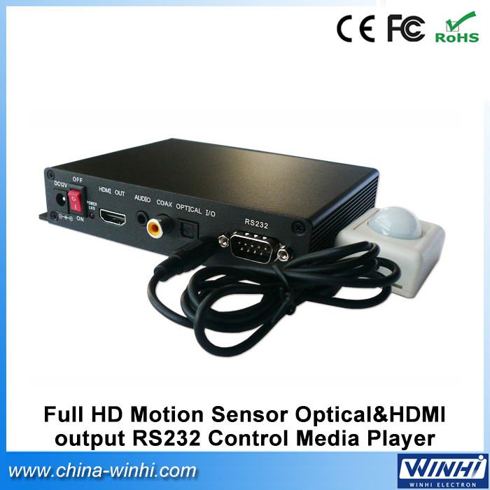 USB SD CE/FCC/ROHS Motion Sensor Optical&HDMI output RS232 Control smart tv real 1080p hdmi full hd media player(China (Mainland))