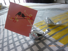 Love Bird Card Holder Favors with Brushed Silver Finish