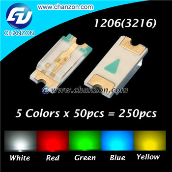 5 Colors x 50pcs = 250pcs 1206 3216 SMD SMT (White Red Green Blue Green) SMD LED 1206 LED Light Emitting Diode LED Diode Kit(China (Mainland))